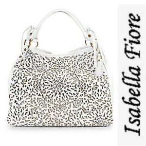 Isabella Fiore White Lasercut Large Hobo Bag